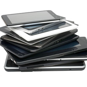 stack of tablets and smartphones