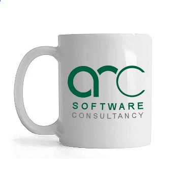 mug of tea with Arc logo on it
